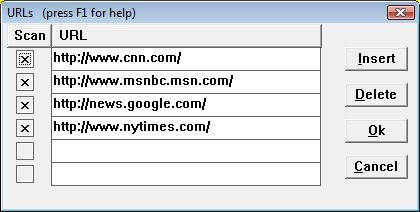 screen shot: web page watcher - URL dialog