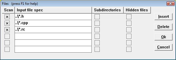 screen shot: input file list